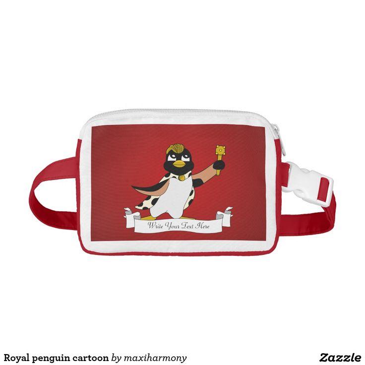 Royal penguin cartoon nylon fanny pack
