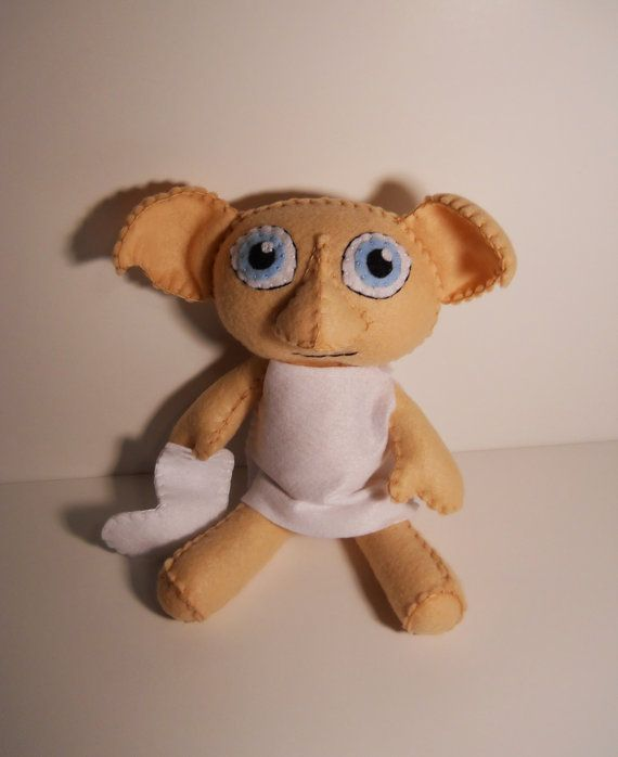Felt Dobby the house elf inspired custom stuffed plush rag doll Harry Potter via Etsy