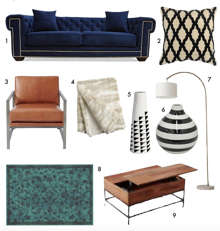 get the look, navy blue chesterfield sofa, teal persian rug, brown leather chair, faux fur throw, wood coffee table // thestylesafari.com