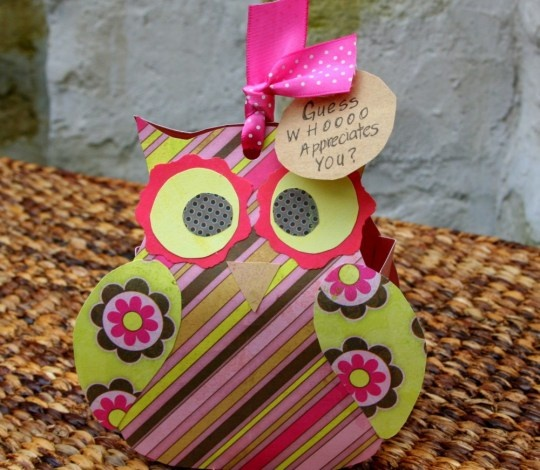 Adorable owl box template/tutorial. Great idea for a teacher gift: Guess whooooo appreciates you?, or as a favor bag after a shower or party.