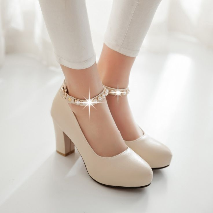 Rhinestone Ankle Straps Women Chunky Heel Pumps High Heels Dress Shoes