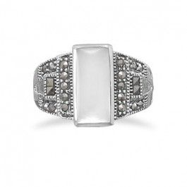 Sterling silver rectangle shell ring with marcasite accents