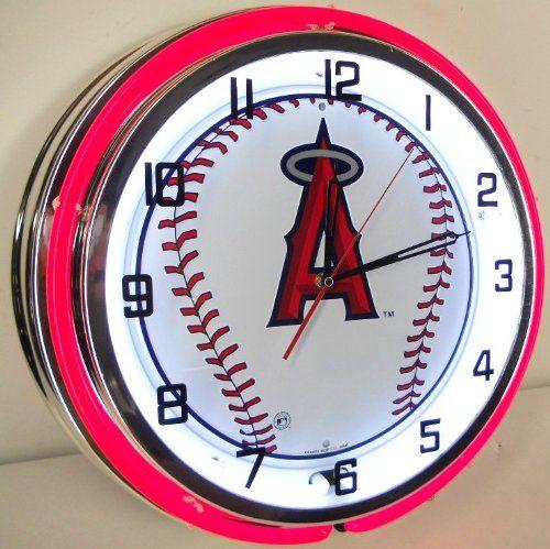 LOS ANGELES LA ANGELS BASEBALL 18 NEON LIGHT WALL CLOCK TEAM ANAHEIM STADIUM LOGO METAL