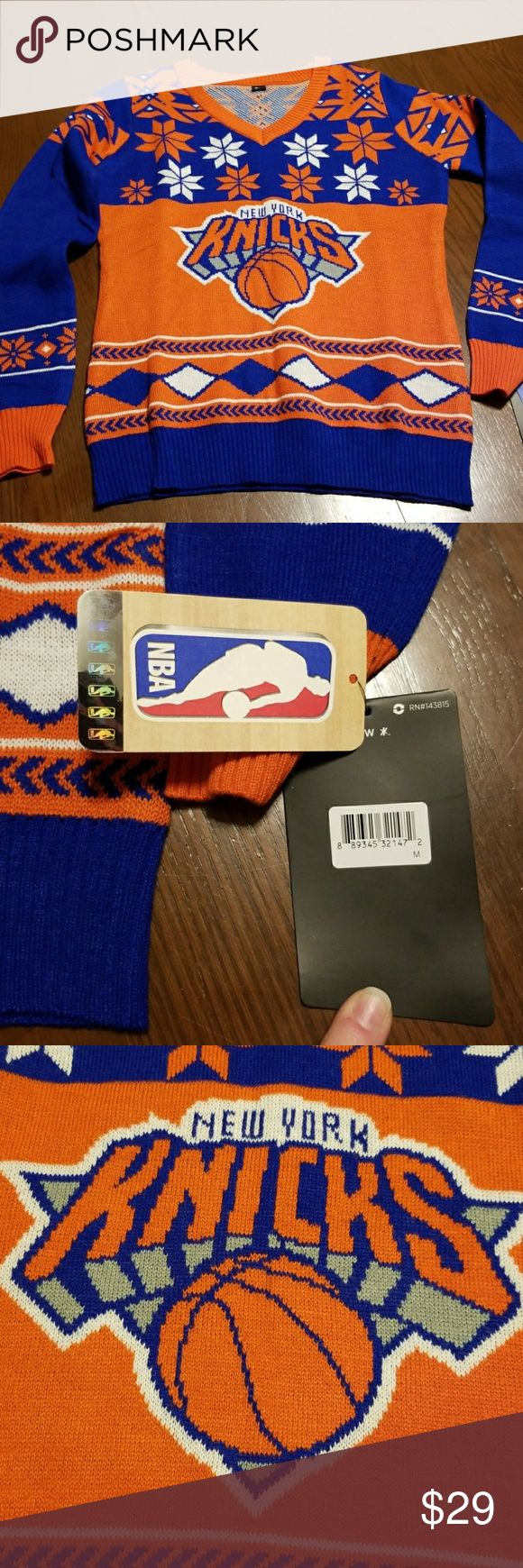 New York Knicks NBA sweater spirit wear NWT Awesome spirit wear. Bright bold. Pink chest and purple length is medium. The purple chest and pink length is the large. You need this!!  Bin5 new york Sweaters Crew & Scoop Necks