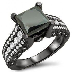 3.10CT Princess Cut Created Black Diamond Rhodium Plated Engagement Ring
