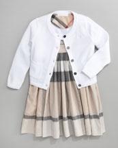 Burberry Window Pane Sun Dress & Classic Cardigan: Girl Clothes, Dresses, Burberry Window, Window Panes, Burberry Dusty, Pane Sun, Buy Girl