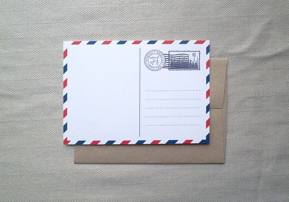 Set of (8) Airmail Postcard Style Note Cards