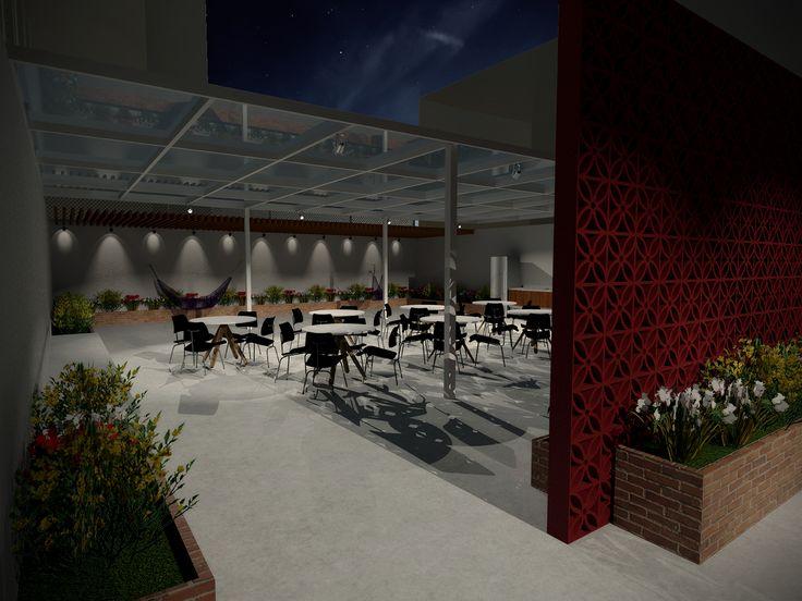 Projeto do escritório Bel e Tef Atelier da Reforma - Projeto Edifício Guilhermina - Vista salão de festas