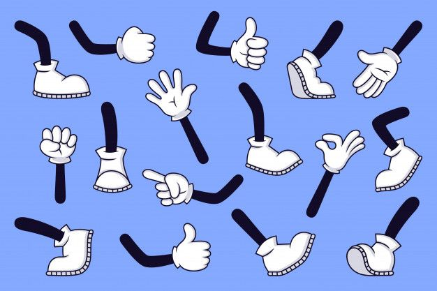 Cartoon Legs And Hands Comic Character Gloved Arm And Feet In Boots Retro Doodle Arms With Different Gestures Running And Walking Legs Illustration Set Th Cartoon Legs Comic Character Cartoon Eyes