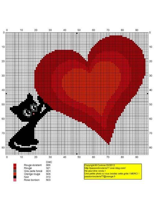 Схемы вышивки крестиком на открытки к 14 февраля