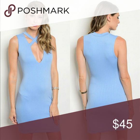 Now Available ❗️💙Soft Blue Bodycon Dress💙 This dress is made 96% Rayon 4 %Spandex. Coutures the feminine figure . 3 sizes available! Sip N' Sparkle Dresses Mini