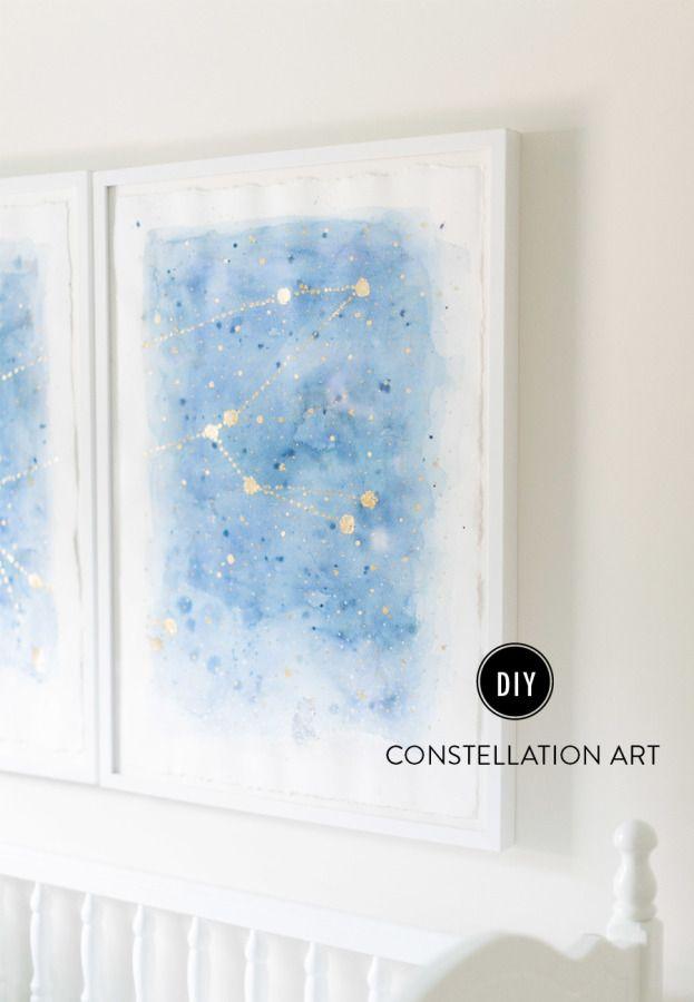 DIY art: http://www.stylemepretty.com/living/2015/08/13/diy-constellation-art/ | Photography: Ruth Eileen - http://rutheileenphotography.com/
