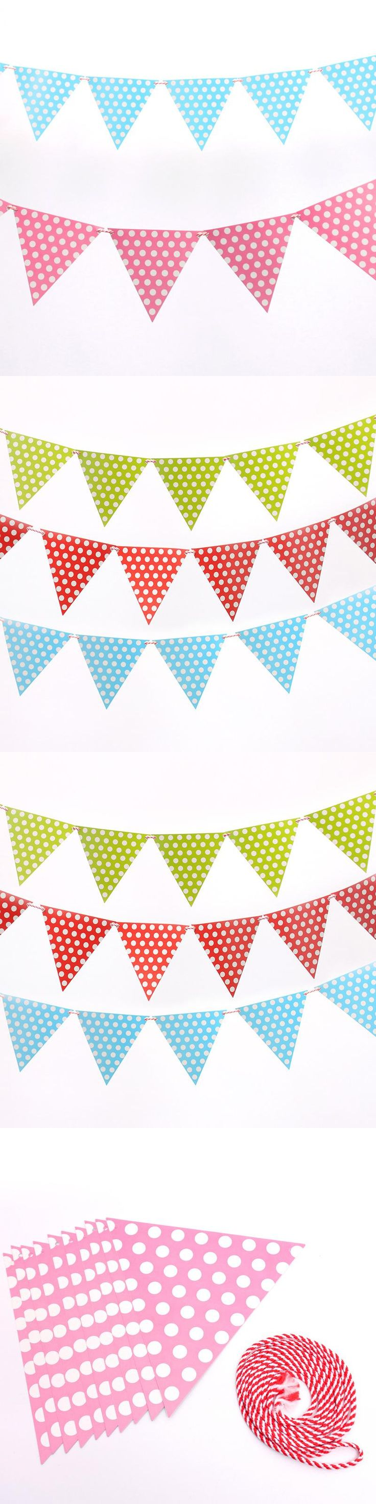 2m handmade Polka Dot Blue Pink Party Bunting Flags/Banners/Pennants Outdoor party Decoration 1 set including 10 small flags