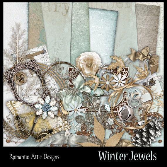 Winter Jewels  Digital Scrapbook Kit  by RomanticAtticDesigns