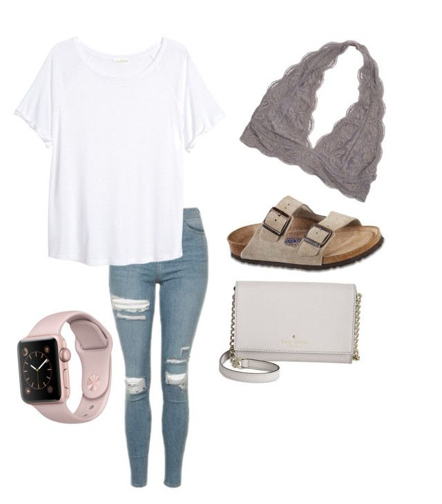 """❤️"" by lilly1345 ❤ liked on Polyvore featuring Topshop, H&M, Birkenstock and Kate Spade"