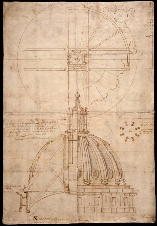 Sir Christopher Wren - Preliminary design for the dome at the Royal Hospital, Greenwich