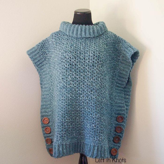 Amelia Poncho dla dorosłych Sweter - Lewa w węzłach