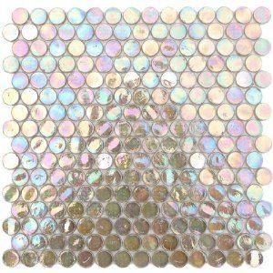 Tea Brown Iridescent Circle Penny Round Glass Mosaic Tile #tile #iridescent