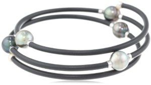 "Baggins Tahitian Pearl Memory Wire PVC Tubing Triple Wrapped Bangle Bracelet, 13"""