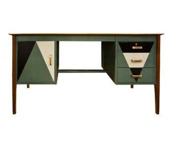 1970's Desk Painted in Geometric Pattern