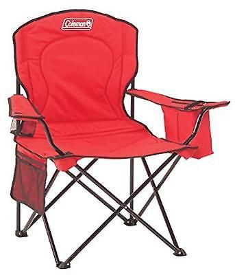 Oversized Camping Chair Quad Red Outdoor Folding Picnic Cooler Patio Beach Seat