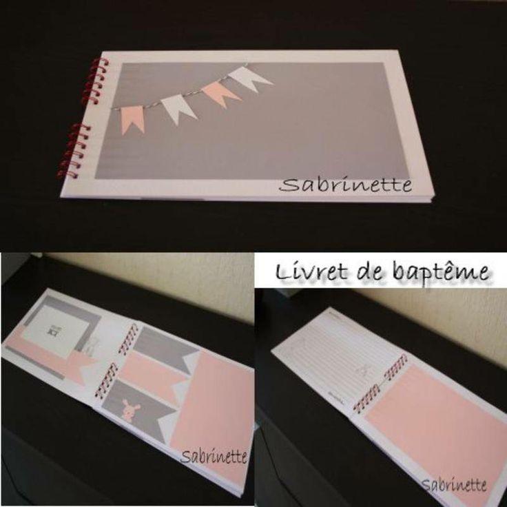 Livret baptême fille - scrapbooking - Les decoration de sabrinette - Fait Maison