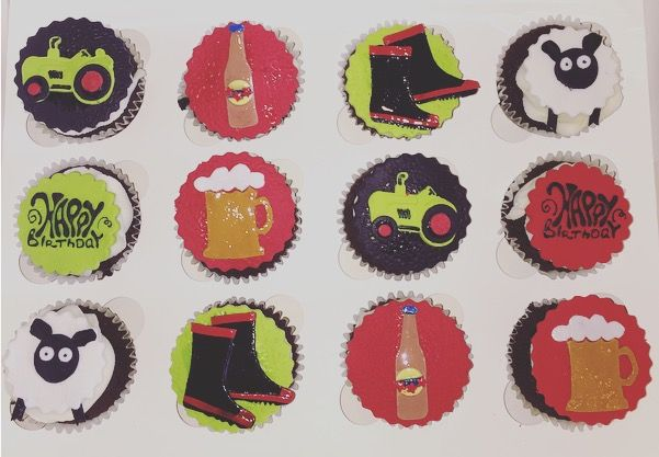 Sheep farmer cupcakes! Beer! Speights bottle, happy birthday & Claas tractor.  Check out my page https://www.facebook.com/frosted.cupcakes.invercargill/