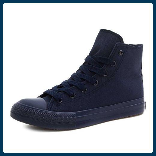 Klassische Unisex Damen Herren Schuhe Low High Top Sneaker Turnschuhe Dk. Blau 41 - Sneakers für frauen (*Partner-Link)