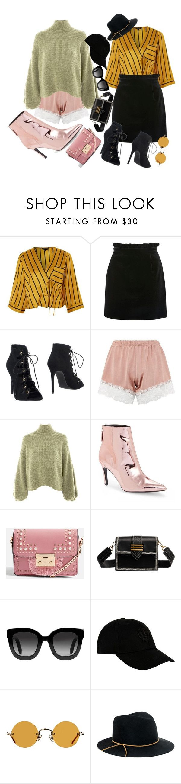 """day out and a pj shorts night out"" by morningstaryasmine ❤ liked on Polyvore featuring Topshop, Gucci, STONE ISLAND, Hakusan and Eugenia Kim"