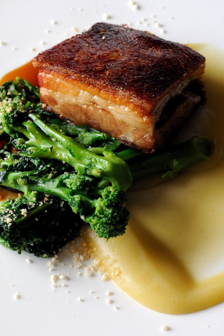 Ideas For Main Course Dinner Party Part - 48: Pork Belly With Apple Purée And Sprouting Broccoli