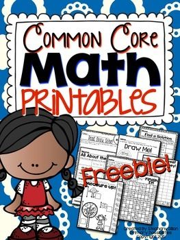 FREEBIE!  This free download includes printable pages for first grade common core math!  Just download, print, and use!You can purchase the entire packet by clicking here!You can purchase the entire packet by clicking here!