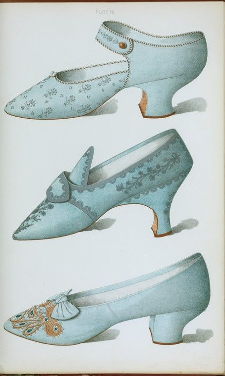 [Single strap shoe in French grey satin, and two blue shoes, all embroidered.] (1900)