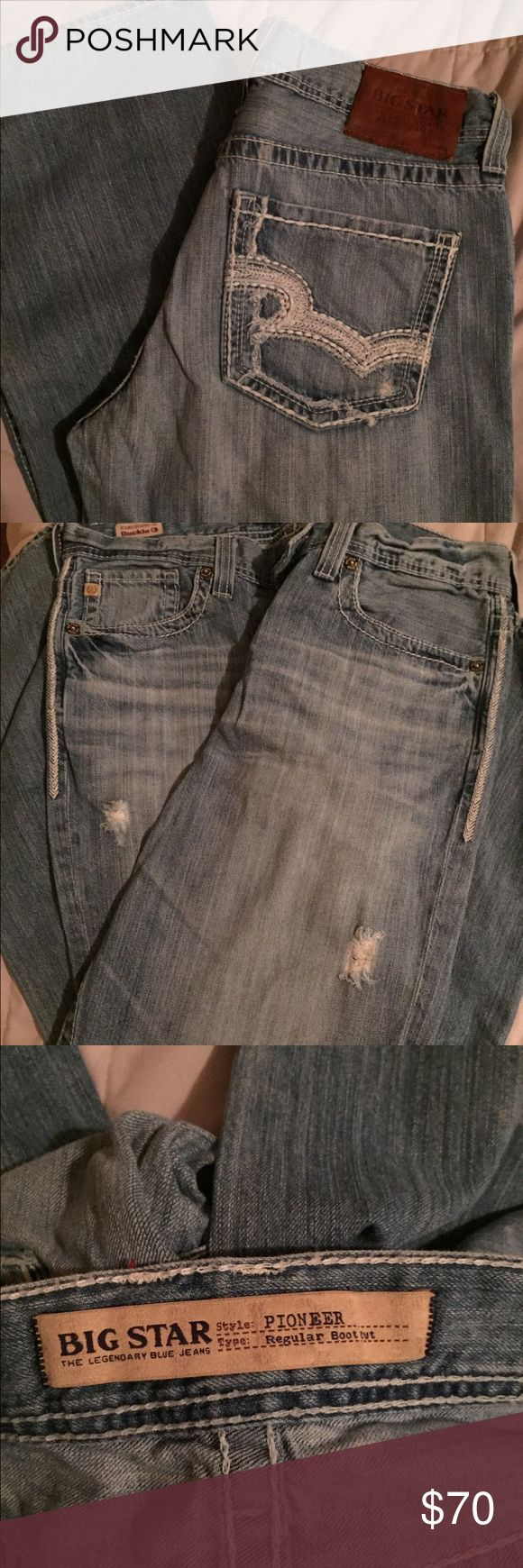 Men's Big Star Pioneer Jeans Big Star Pioneer Bootcut Jeans... worn look on legs.. see pics for description.. size 33 Long.. price is not negotiable Big Star Jeans Bootcut