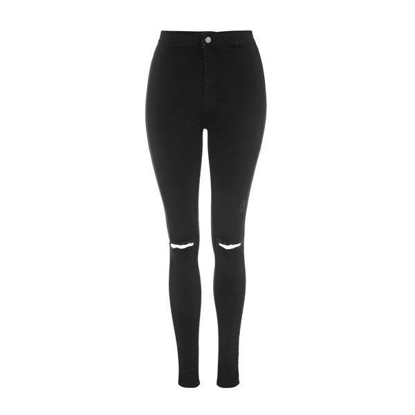 Topshop Petite Moto Ripped Joni Jeans found on Polyvore featuring jeans, pants, calça, black, torn skinny jeans, distressed skinny jeans, zipper skinny jeans, stretchy skinny jeans and high waisted jeans
