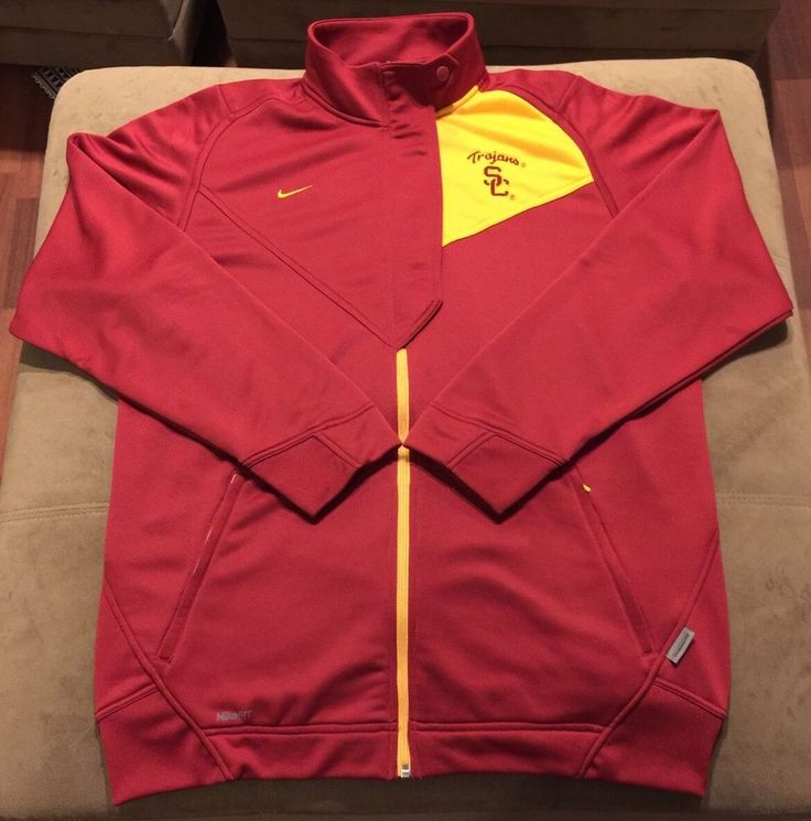 Nike Team USC Trojans Authentic Fit Dry Full Zip Jacket Sweater Red Gold Size L #Nike #USCTrojans
