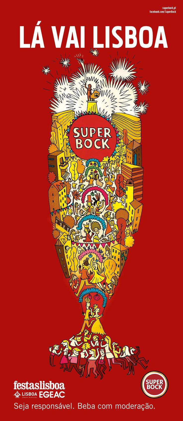 Santo António, Super Bock, Festas de Lisboa, Santos populares ilustração de Bernardo Carvalho