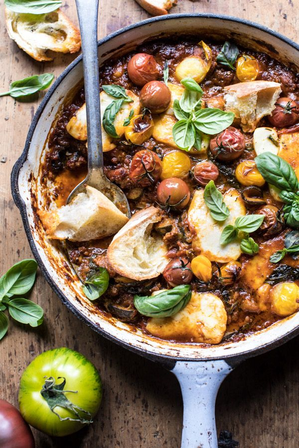 Summer Tomato and Zucchini Halloumi Bake: saucy with a bit of heat, slightly indulgent, but yet light & summery, all at the same time @halfbakedharvest.com