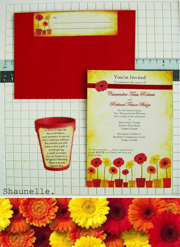 Daisy theme handmade invitation #handmadeinvitation #daisyflower #orange #Yellow #red #shaunelle