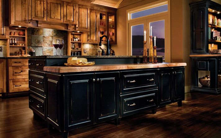 Black rustic kitchen cabinets by kraftmaid kitchen for Kitchen designs and more