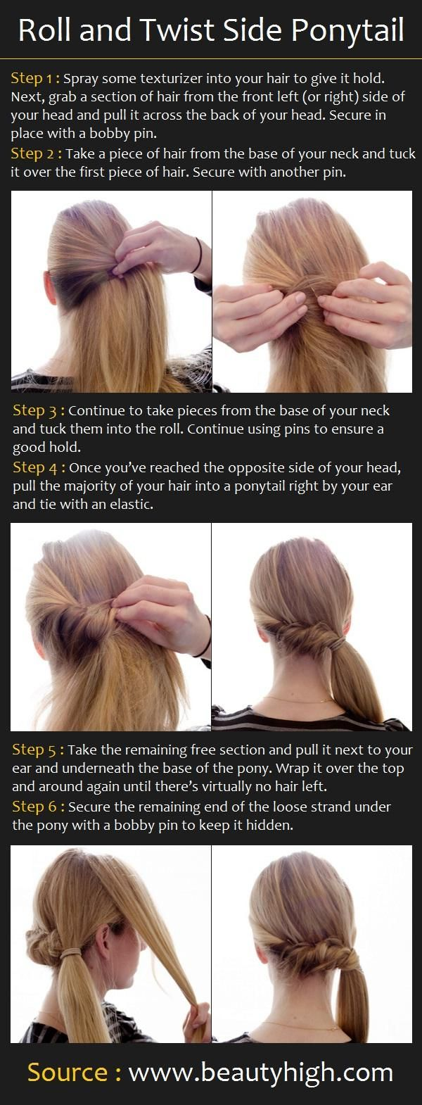 Roll and Twist Side Ponytail (I've always had a hard time w/ these, but never tried it like this, so we'll see!) =)