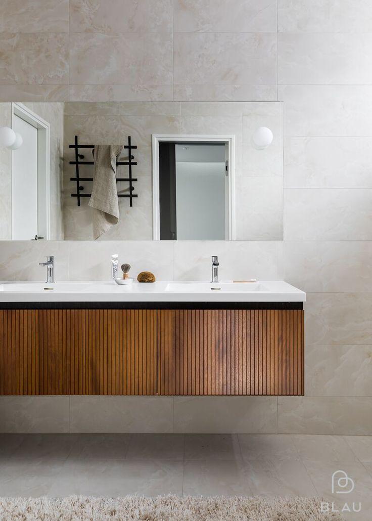 Aamu alkaa parhaiten kauniissa kylpyhuoneessa! Tämän Blau toteutti Espoon Westendin uudisrakennukseen.