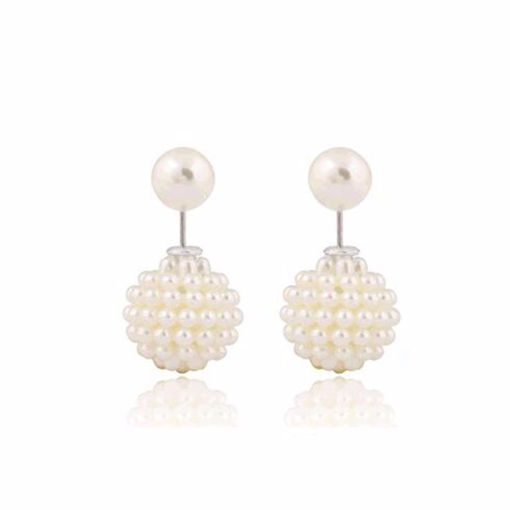 Wholesale Aros Double Pearl Clip Multi-Color Ear Cartilage Statement Stud Earrings for Women Wedding Party Jewelry Free shipping
