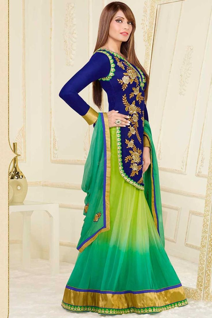 Blue Shantoon Jacket Style Top Lehenga Choli Price: RM369.00 Andaaz Fashion Presents New Arrival Designer Blue Shantoon Jacket Style Top Lehenga Choli, with Green Net Dupatta and Low Cut Neck Choli. Dress designed with Embroidered, Zari, Resham, Stone work . This is perfect for Party, Wedding, Festival, Ceremonial. http://www.andaazfashion.com.my/blue-shantoon-jacket-style-top-lehenga-choli-dma12620.html