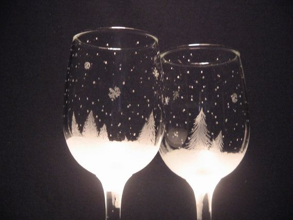 Etched Wine Glass Winter Holiday Christmas by WastedTalentDesigns, $25.00