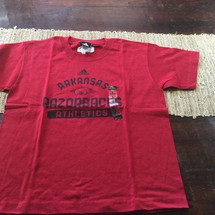 Youth Adidas Arkansas Razorbacks Red T Shirt Sz Large 100% Cotton NWT #adidas #ArkansasRazorbacks