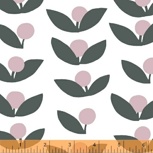 """""""Glimma Pink Grey Berries on White """" - Fabric by Lotta Jansdotter for Windham"""