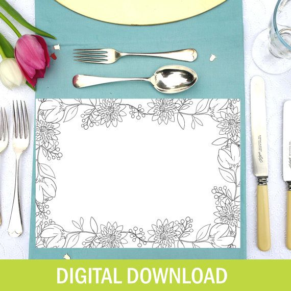 Floral Colouring In Personalised Placemats - DIGITAL DOWNLOAD - Custom - Wedding Activity - Birthday Party - Wedding Favour - For Kids - Let's Dream - Etsy