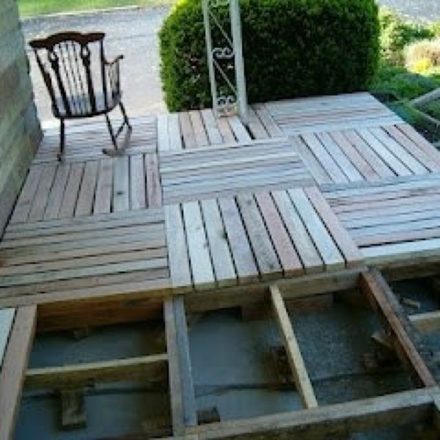 Pallet porch. Jessica maybe do this instead of deck.