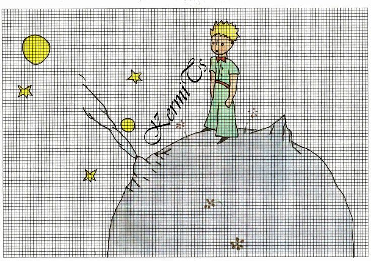 the little prince cross-stitch - küçük prens kanaviçe