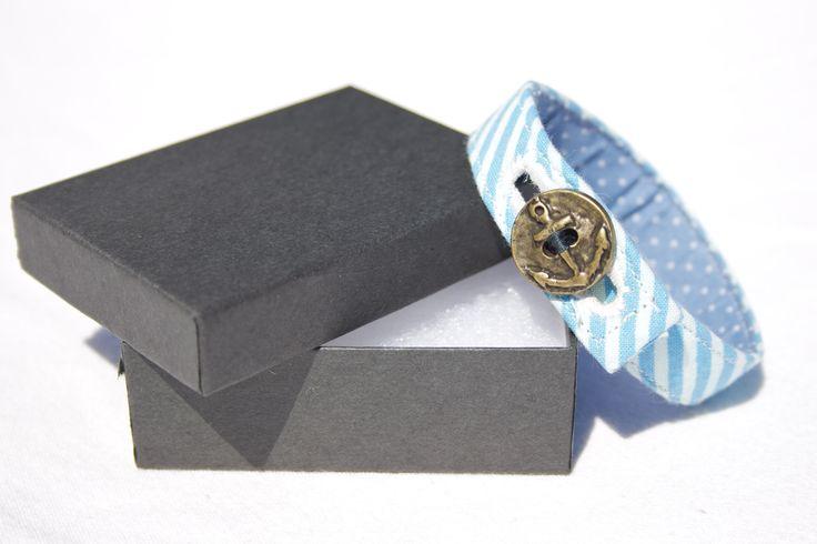 Material Anchor Bracelet - Iceberg Blue & White
